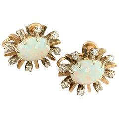 Vintage Australian Opal and Diamond 14 Karat Yellow Gold Screw Back Earrings