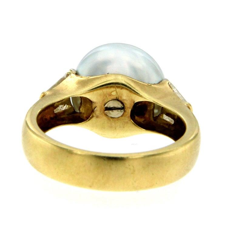 Baguette Cut Vintage Australian Pearl Diamond Yellow Gold Ring