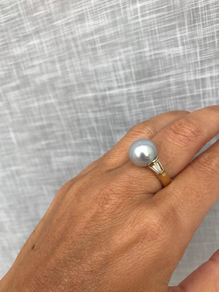 Vintage Australian Pearl Diamond Yellow Gold Ring 1