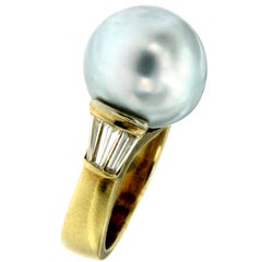 Vintage Australian Pearl Diamond Yellow Gold Ring