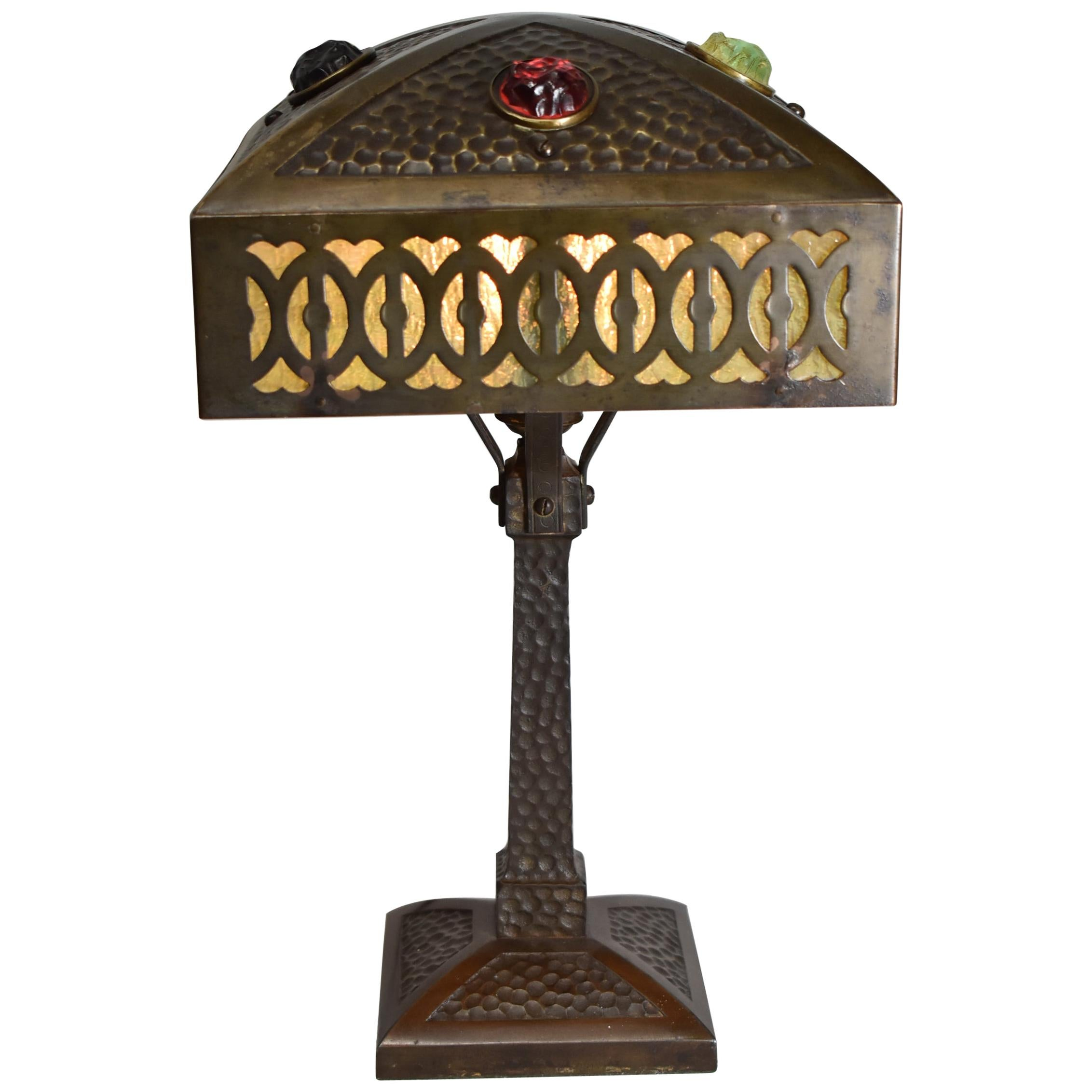 Vintage Austrian Arts & Crafts Table Lamp Granite Back Glass Four Jewels