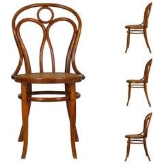 Vintage Austrian Bentwood No. 36 Dining Bistro Chairs by Josef Kohn, Set of 4