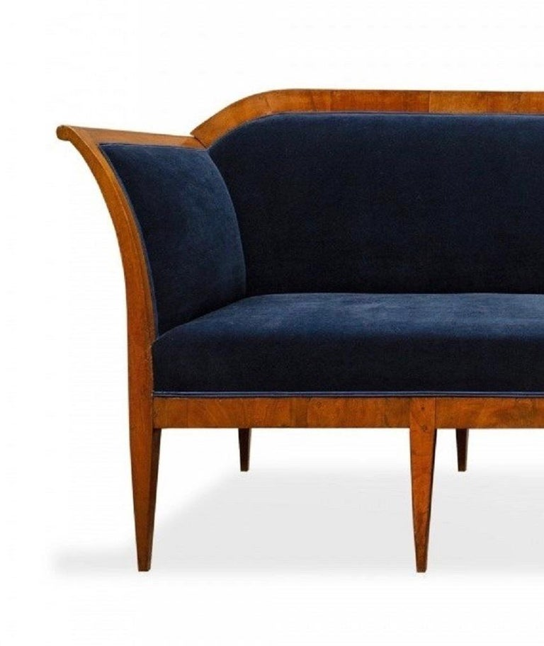Mid-19th Century Vintage Austrian Biedermeier Blue Velvet Settee For Sale