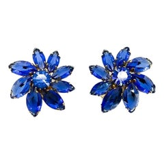 Vintage Austrian Blue Glass Flower Earrings 1950s
