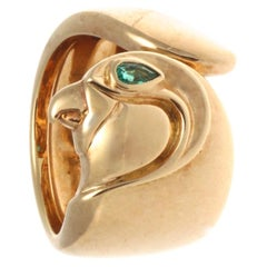 Vintage Authentic 1990s Cartier France Emerald Pear Shape 18k Gold Falcon Ring
