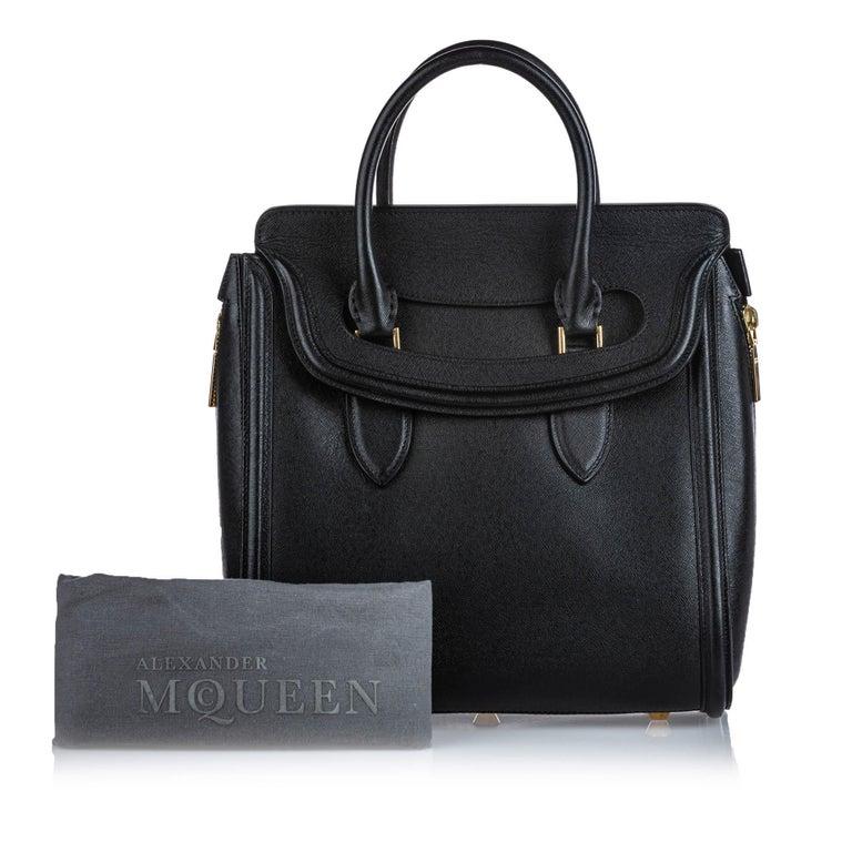 Vintage Authentic Alexander Mcqueen Black Leather Heroine Handbag ITALY MEDIUM  For Sale 12