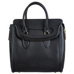 Vintage Authentic Alexander Mcqueen Black Leather Heroine Handbag ITALY MEDIUM