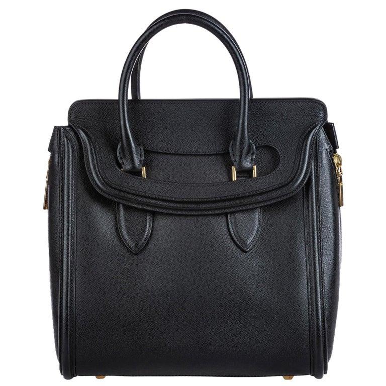Vintage Authentic Alexander Mcqueen Black Leather Heroine Handbag ITALY MEDIUM  For Sale