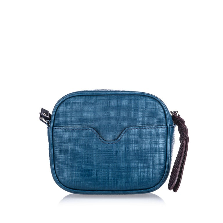 Vintage Authentic Alexander Mcqueen Blue Leather Mini Camera Bag ITALY MINI  In Good Condition For Sale In Orlando, FL