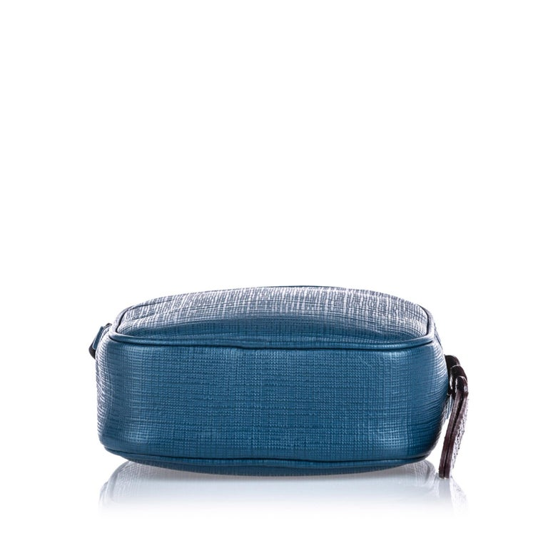 Women's Vintage Authentic Alexander Mcqueen Blue Leather Mini Camera Bag ITALY MINI  For Sale
