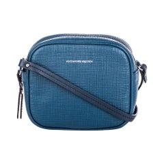 Vintage Authentic Alexander Mcqueen Blue Leather Mini Camera Bag ITALY MINI