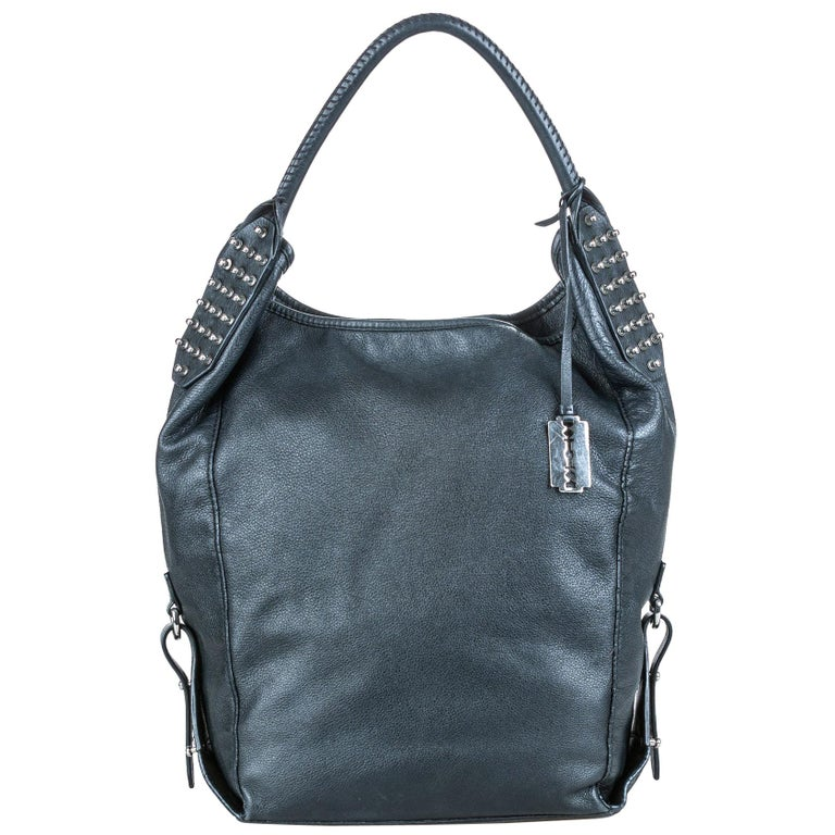 Vintage Authentic Alexander Mcqueen Gray Leather Studded Hobo Bag CHINA LARGE  For Sale