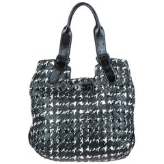 Vintage Authentic Alexander Mcqueen Leather Houndstooth Tote Bag LARGE