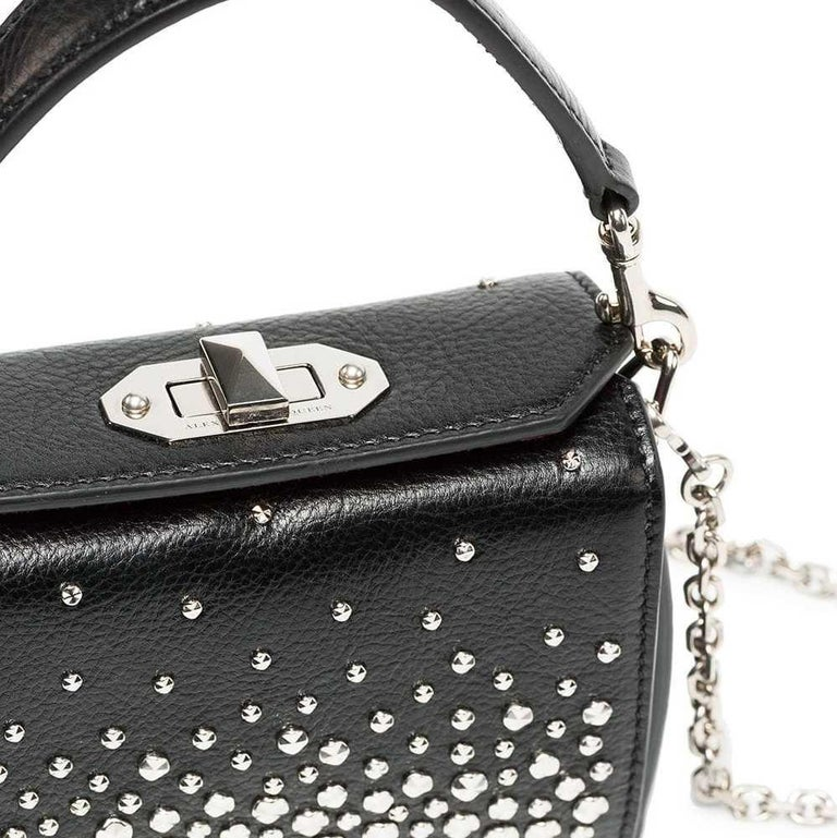 Black Vintage Authentic Alexander Mcqueen Leather Studded Chain Mini Box Bag MINI  For Sale