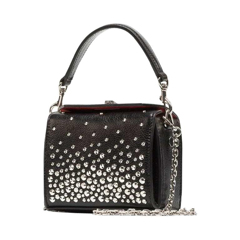 Vintage Authentic Alexander Mcqueen Leather Studded Chain Mini Box Bag MINI  For Sale