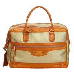 Vintage Authentic Balenciaga Brown Beige Nylon Fabric Travel Bag France LARGE