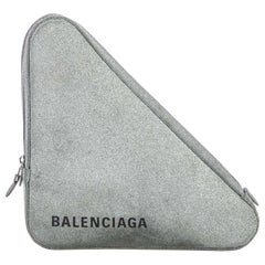 Vintage Authentic Balenciaga Silver Leather Triangle Clutch ITALY SMALL