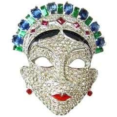 Vintage Authentic Book Piece Mazer Crystal Masked Woman Brooch