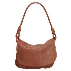 Vintage Authentic Bottega Veneta Brown Leather Shoulder Bag Italy MEDIUM