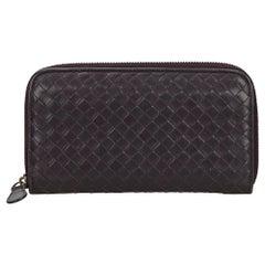 Vintage Authentic Bottega Veneta Leather Intrecciato Zip Around Wallet SMALL