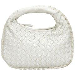 Vintage Authentic Bottega Veneta White Leather Intrecciato Handbag Italy SMALL