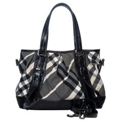Vintage Authentic Burberry Beat Check Lowry Tote Bag w Dust Bag MEDIUM