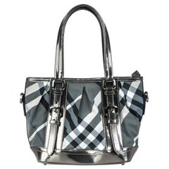 Vintage Authentic Burberry Black Beat Check Lowry Tote Bag United Kingdom LARGE