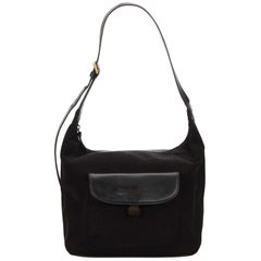 Vintage Authentic Burberry Black Dark Hobo Bag United Kingdom w Dust Bag MEDIUM