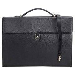 Vintage Authentic Burberry Black Leather Briefcase united Kingdom MEDIUM