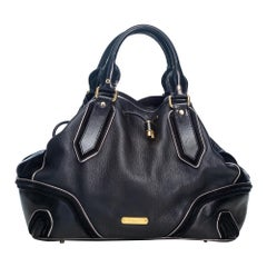 Vintage Authentic Burberry Black Leather Drawstring Satchel Italy w LARGE
