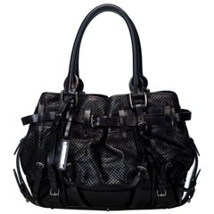 Vintage Authentic Burberry Black Leather Mesh Rowan Shoulder Bag Italy w LARGE
