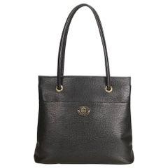 Vintage Authentic Burberry Black Leather Shoulder Bag United Kingdom LARGE