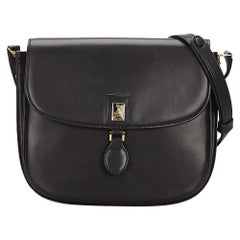 Vintage Authentic Burberry Black Leather Shoulder Bag United Kingdom SMALL