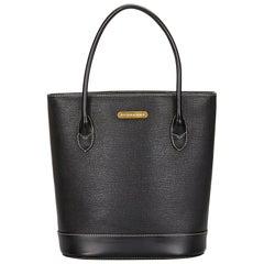 Vintage Authentic Burberry Black Leather Tote Bag UNITED KINGDOM LARGE