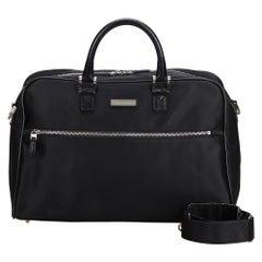 Vintage Authentic Burberry Black Leather Travel Bag United Kingdom LARGE