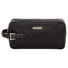 Vintage Authentic Burberry Black Nylon Fabric Clutch Bag Japan SMALL