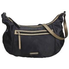Vintage Authentic Burberry Black Nylon Fabric Hobo Bag United Kingdom LARGE