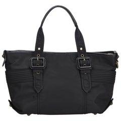Vintage Authentic Burberry Black Nylon Fabric Tote Bag United Kingdom LARGE