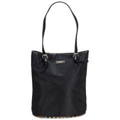 Vintage Authentic Burberry Black Plaid Tote Bag United Kingdom LARGE