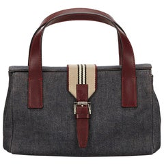 Vintage Authentic Burberry Blue Denim Fabric Handbag United Kingdom SMALL