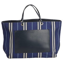 Vintage Authentic Burberry Blue Striped Tote United Kingdom LARGE