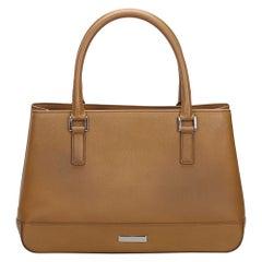 Vintage Authentic Burberry Brown Beige Leather Handbag UNITED KINGDOM MEDIUM