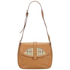 Vintage Authentic Burberry Brown Beige Leather Shoulder Bag Italy MEDIUM