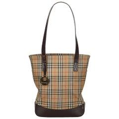 Vintage Authentic Burberry Brown Haymarket Check Tote Bag UNITED KINGDOM LARGE