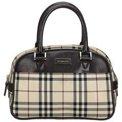 Vintage Authentic Burberry Brown House Check Handbag United Kingdom LARGE