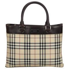 Vintage Authentic Burberry Brown House Check Handbag United Kingdom MEDIUM