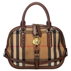 Vintage Authentic Burberry Brown House Check Orchard Owl Satchel Italy LARGE