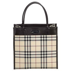 Vintage Authentic Burberry Brown House Check Tote Bag United Kingdom LARGE