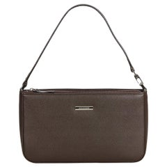 Vintage Authentic Burberry Brown Leather Baguette United Kingdom SMALL