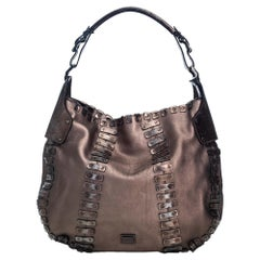 Vintage Authentic Burberry Brown Leather Embellished Hobo Bag ITALY LARGE